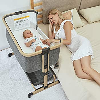 3 in 1 Baby Bassinets,AMKE Bedside Sleeper for Baby Baby Crib with Storage Basket for Newborn Easy Folding Bassinet for Baby and Safe Co-Sleeping,Adjustable Portable Baby Bed,Travel Bag Included
