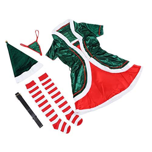 Amosfun 1 juego de disfraz de elfo para mujer, verde de Navidad, Santas ayudante, vestido festivo, vestido de fiesta de elfo, vestido de fiesta L