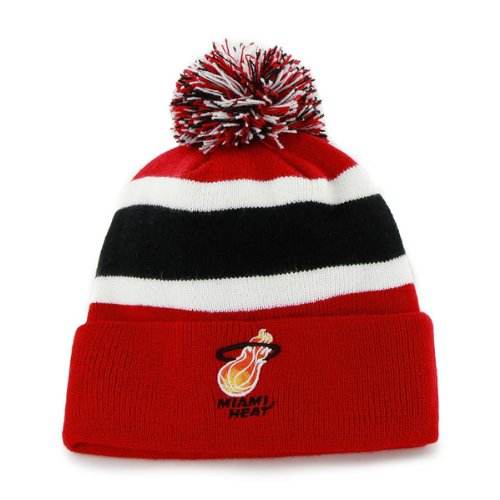 '47 Miami Heat Red Breakaway Beanie Hat with Pom - NBA Cuffed Winter Knit Toque Cap