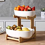 XHHXPY 2-Tier Ceramics Fruit Basket Stand Modern Kitchen Countertop Storage Display Stand Bamboo Countertop Basket Bowl Holder Tray for Fruit, Vegetables, Snacks,White