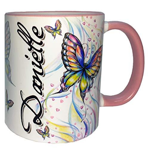 Namenstasse Schmetterlinge, Tasse, Haferl, Becher mit Namen, Keramik, 330 ml, Kindertasse, Schmetterling