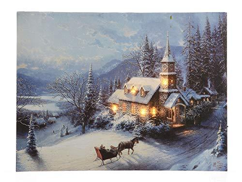zeitzone LED Bild Winterlandschaft Kirche in den Bergen Weihnachten Wandbild 38x58cm