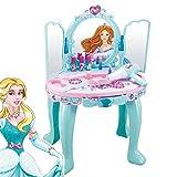 ZZAZXB El Juego De Tocador Musical Princesa Vanity De Girls Princess, para Niños Simula Juguetes Interactivos con Espejo De Luz Y Música, 15 Accesorios De Maquillaje, Excelente Regalo De Cumpleaños