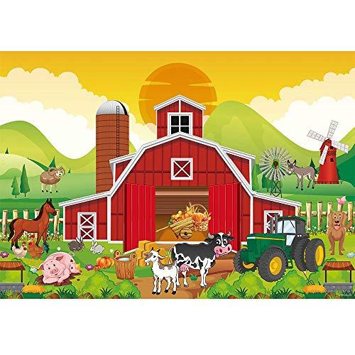 Allenjoy 7x5ft Cartoon Red Farm Animals Backdrop Kids 1st First Birthday Party Banner Autumn Harvest Warehouse Photography Background Little Farmer Barnyard Newborn Baby Shower Decors Photo Props