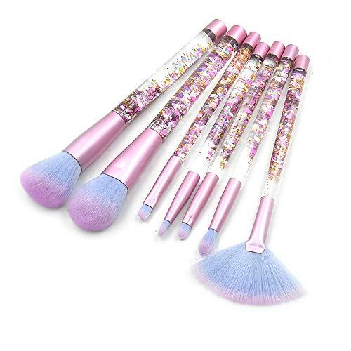 Pinceaux de maquillage femmes Jeu de pinceaux de maquillage, poignée de diamant de paillettes de cristal clair Set de pinceaux de maquillage Poignée de remplissage liquide de sable liquide constituent