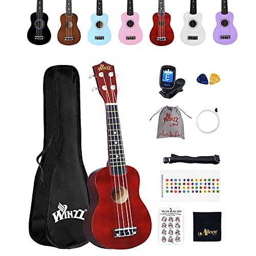 Winzz Ukelele Soprano Starter Kit para Principiante. Incluye: Funda, Afinador, Cuerdas Extra, Correa Ajustable, Púas, Pegatinas de notas, Guía de Acordes y Paño de pulido. Color: Marrón