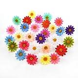 Azxu Faux Fleurs artificielles faites à la main Tournesol en soie Mini Tête de fleur pour Fleurs Artificielles Décoration de Mariage DIY Couronne Boîte Cadeau Scrapbooking Craft Fausses Fleurs 100 pcs