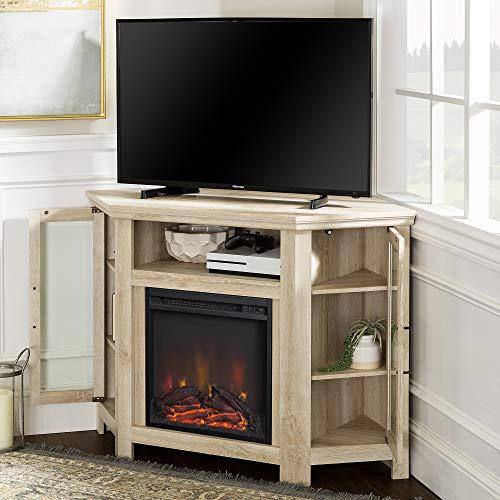 WE Furniture 48 Wood Corner Fireplace Media TV Stand Console - White Oak