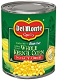 Del Monte Canned Fresh Cut Golden Sweet Whole Kernel Corn No Salt Added, 8.75-Ounce (Pack of 12)