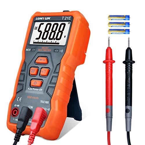 Multimeter, TRMS 5999 Counts Auto-Ranging Digitalvoltmeter;Spannung, Widerstand, Kontinuität, Frequenz, Kapazität und Dioden-Tester;mit Akku aijia