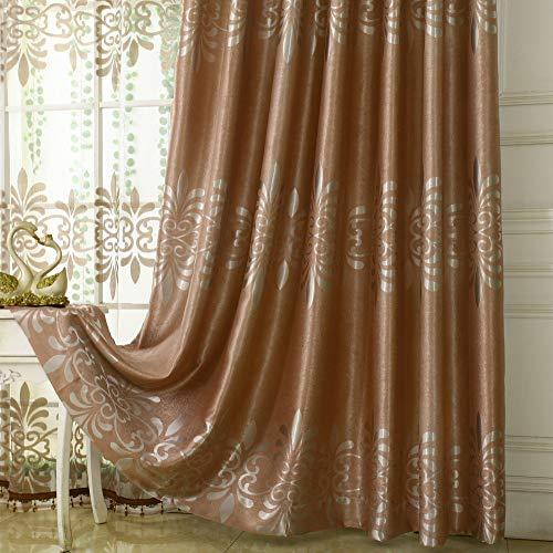 CurDecor Europäische Gedruckt 1 Pc Vorhang,Anti-Fading Vintage Schiebegardinen Verdunkelungsvorhangpaneele Rauschen Reduzieren Fenster Drapiert-Kaffee 150x270cm(59x106inch)