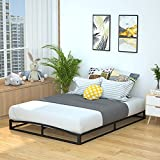 Amazon Basics 6' Modern Metal Platform Bed with Wood Slat Support - Mattress Foundation - No Box Spring Needed, Queen