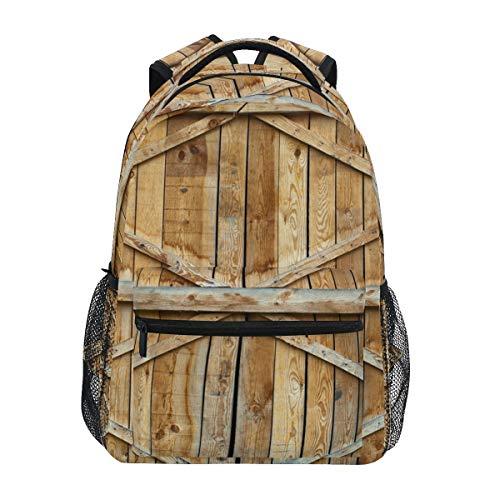 Mochilas College School Bag tradicional Puerta de madera con cruz bolsas para niños adolescentes hombro casual viaje mochila