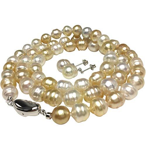 イソワパール ナチュラルカラー 白蝶真珠 セミロング ネックレス イヤリング セット 65660
