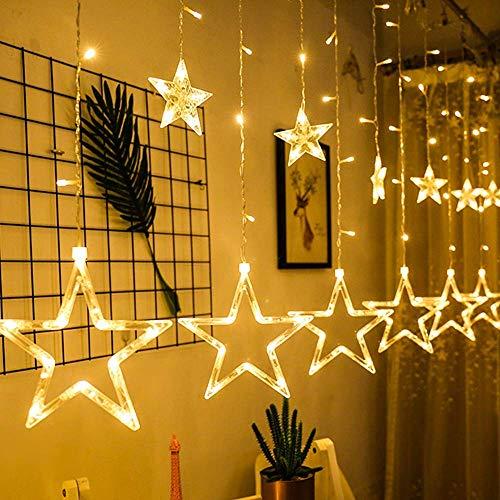 LED Lichtervorhang Weihnachtslichterkette, mimoday 12 Sterne 138pcs LED Fenster Vorhang Lichterkette Mit 8 Blinkenden Modi, Dekoration für Weihnachten Balkon Hochzeit Party, Warmweiß