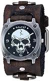 Nemesis Heavy Skull Stainless Steel Analog-Quartz Leather Strap, Black, 38.6 Casual Watch (Model: KDFRB926K)