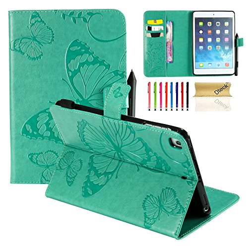 iPad Mini Case, Mini 2/3/4 Case, Dteck Colorful Embossed Butterfly Pattern PU Leather Folio Stand Wallet Case with Auto Wake/Sleep Function Smart Magnetic Cover for Apple iPad Mini 1 2 3 4, Green