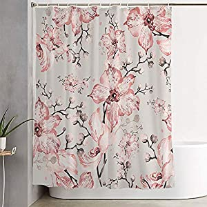 Shower Curtain for Bathroom Watercolor Pattern Orchids Drawing Buds6 Summer Bud Flower Toned Silk Artwork 6 Abstract Textures Bath Curtain Bathroom Decor for Bathtubs 72×72 Inch Long, Hooks Included