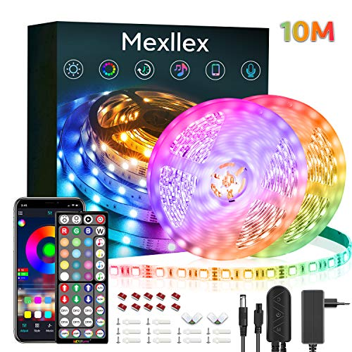 LED Strip 10M Musiksynchronisation Farbwechsel RGB LED Streifen 44 Tasten Fernbedienung, empfindliches eingebautes Mikrofon, von der Anwendung gesteuerte LED Streifen, 5050 RGB LED Leuchtstreifen