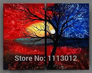 DIU High Quality Abstract Art Set 2 Piece Red Banana Tree Leaves Moon Clouds Oil Painting On Canvas Landscape Wall Decor F...