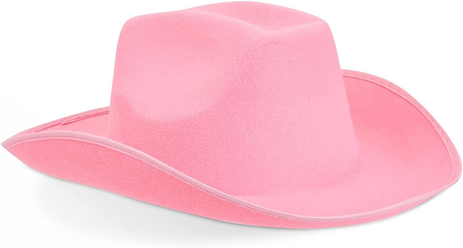 Zodaca Western Felt Cowboy Hat for Women and Men Costume (Pink, Adult Size)