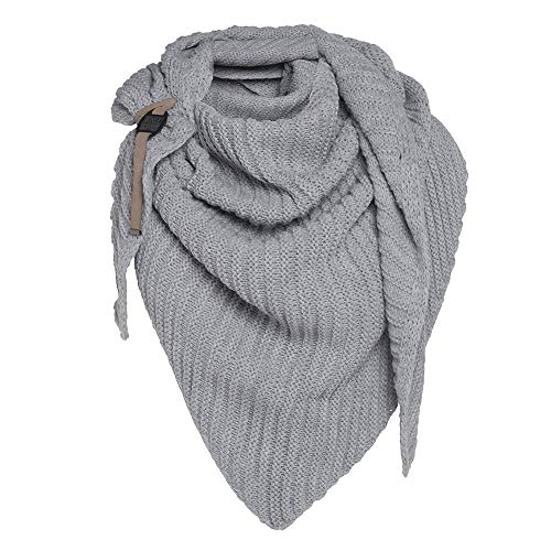 Knit Factory - Demy Dreiecksschal - Damen Strickschal mit Wolle - Tuch Schal für Winter - Hochwertige Qualität - Grau