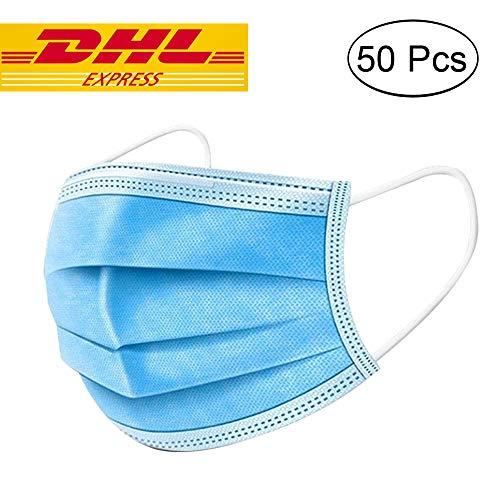 50 Stücke Weich Disposable Mundschutz Maske 3-Lagig Masken Staubdicht Einwegesschutzmasken Atemmasken mit Ohrringe, Blau