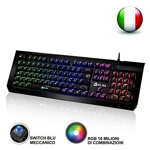 KLIM Domination Tastiera Meccanica ITALIANA RGB - Nuova Versione - Switches Blue - Digitazione Rapida, Precisa, Confortevole - Gaming Tastiera - COMPLETA PERSONALIZZAZIONE DEI COLORI - PC PS4 Xbox One