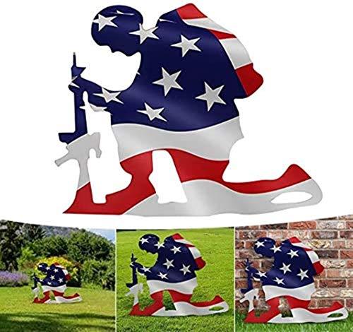 DJRH American Flag Kneeling Soldier Weathered Flag Metal Art Decor-US Military Kneeling Soldier Garden Flag Vertical Home Yard Art Outdoor Decoration