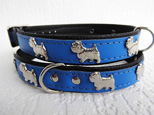Lusy011 *Westie* Hunde Halsband, Leder, Halsumfang 30-36cm, Dunkel Blau, NEU(PL.19.9.3.49)