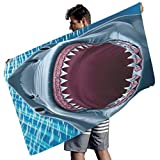 Toalla de playa de microfibra con diseño de tiburón, colores vibrantes, manta de playa para picnic al aire libre, Poliéster, Blanco, 150x75 cm