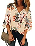LookbookStore Women's V Neck Floral Print Mesh Panel Blouse 3/4 Bell Sleeve Loose Summer Top Shirt Wheat Size X-Large