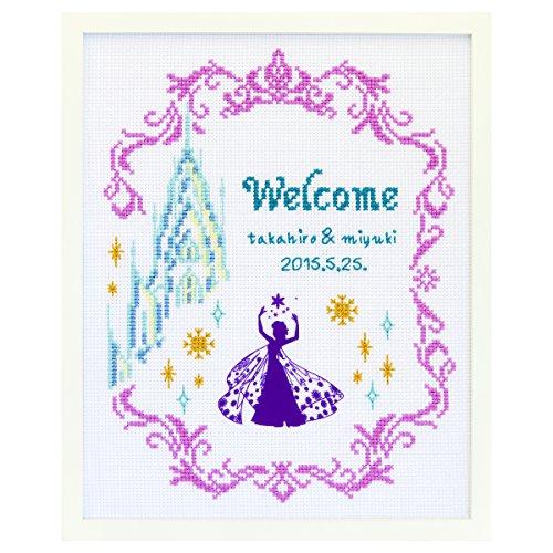 オリムパス製絲 クロスステッチ 刺しゅうキット ディズニー ウェルカムボード アナと雪の女王 白 7468