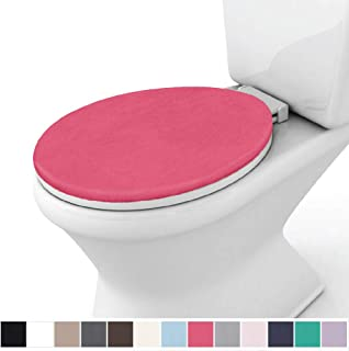 Gorilla Grip Original Thick Memory Foam Bath Rug Toilet Lid Seat Cover, 19.5 Inch x 18.5 Inch Size, Machine Washable, Plush Fabric Covers, Fits Most Size Toilet Lids for Children's Bathroom, Hot Pink