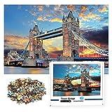 1000 PCS Jigsaw Puzzles - London Tower Bridge,Educational Intellectual Decompressing Fun Game for Kids Adults