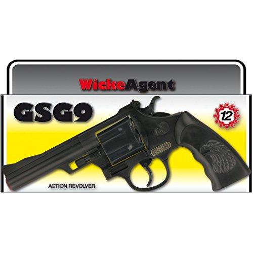 NET TOYS 12 Schuss GSG 9 Pistole 238 mm schwarz Bundesgrenzschutz Revolver Polizei Knarre Bullen Waffe Spielzeugpistole