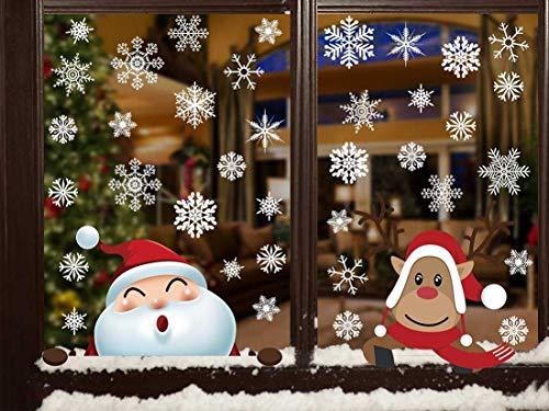 Vetrofania Natalizia in PVC Adesivi Babbo Natale Rimovibile in Vetrate per Porte murali Ornamenti per vetrine Natale Vetrofanie Rimovibile
