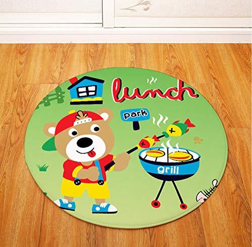 Yang Jingkai Mooie cartoondieren dragen rond tapijt stoel tafel bureau mat woonkamer slaapkamer antislip decoratie