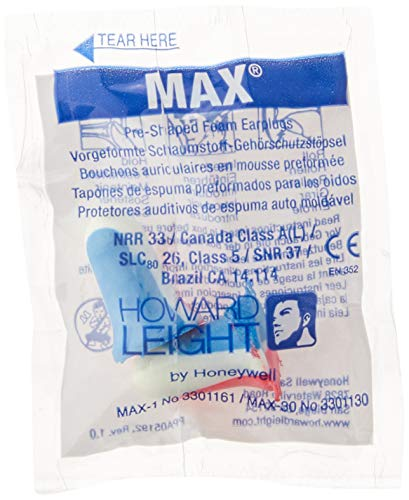 Howard Leight by Honeywell MAX USA Disposable Foam Earplugs, 200-Pairs (MAX1-USA),Red, White, Blue