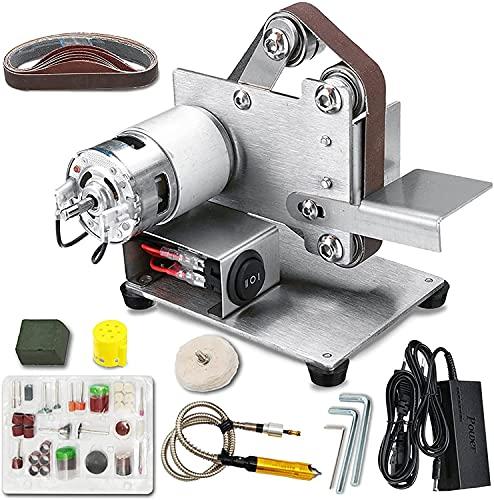 wsbdking Desktop Electric Belt Sander DIY Multifunctional Polishing Grinding Machine Kit Cutter Sharpener Set, for Woodworking Resin Wood Grinder Bench Top Grinding Tool