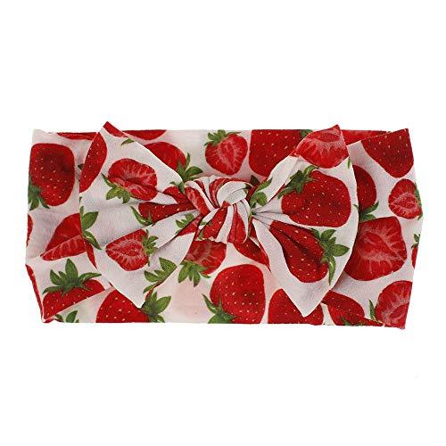 ZGHBJ Accesorios para el Cabello Planta Fruta Flor Floral Floral Estampado sin Costuras Nylon Hairband Niños Accesorios para el Cabello Pajarita- # 4 Fresa