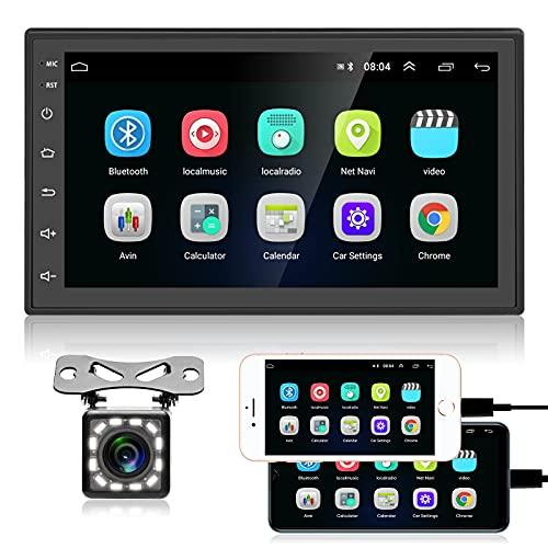 Android Radio de Coche 2 DIN - Reproductor Multimedia de Coche con Pantalla táctil Bluetooth con WiFi, Navegación GPS, Mirrorlink, Radio FM, USB, estéreo de Coche con cámara de visión Trasera