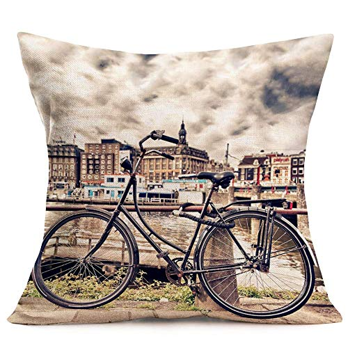 WXM Throw Pillow Covers 18'x18' Retro Classic Black Bicycle Bike Natural Landscape Background Cushion Cover Cotton Linen Square Standard Pillow Case