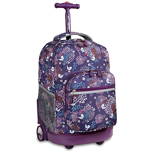 J World New York Sunrise Rolling Backpack, Baby Birdy