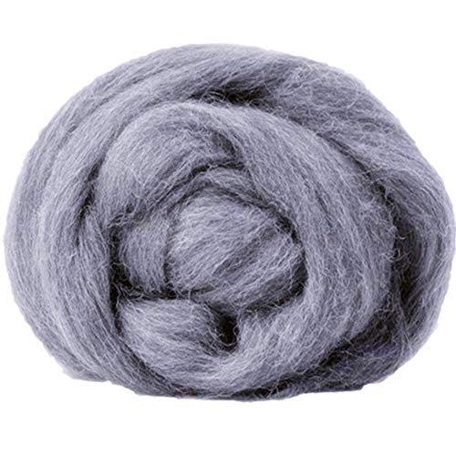 Chunky Merino Roving Super Soft Bulky Big Wool Yarn for Arm Knitted Hand DIY Your Favorite Thick Blankets (Light Grey, 0.55LB/0.25KG)