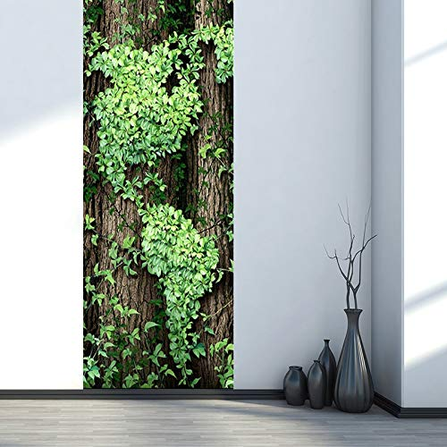 LXZHJL 309D Kreative Türaufkleber Türtapete TürposterEinfache Pflanze grüne Weinbäume PVC wasserdichte Selbstklebe Türaufkleber Aufkleber 77x506cm for Wohnzimmer Schlafzimmer Studie Art Deco Fototapet