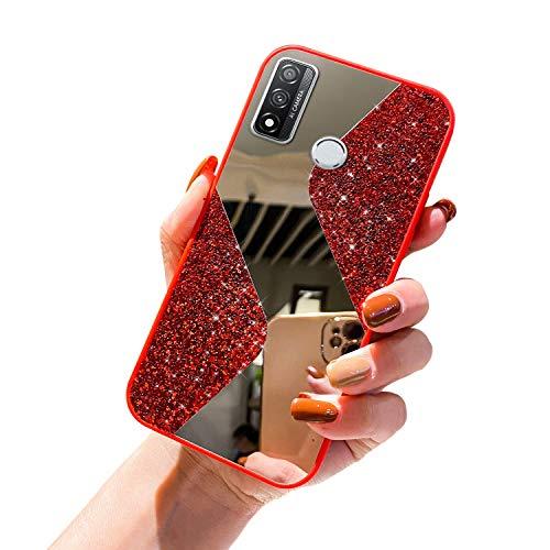 URFEDA Compatible avec Huawei P Smart 2020 Coque en Silicone de Miroir Glitter Paillette Brillant Strass Bling Etui Souple TPU Gel Case Anti-Rayures Antichoc Bumper Coque Housse de Protection,Rouge