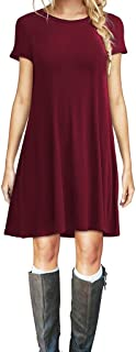 AUSELILY Women's Summer Casual Short Sleeve Plain Simple T-Shirt Loose Dress