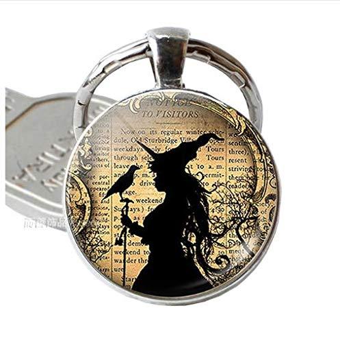 Schlüsselanhänger Hexe und Rabe, Silberlegierung, Schlüsselanhänger, Schmuck, für Herren und Damen