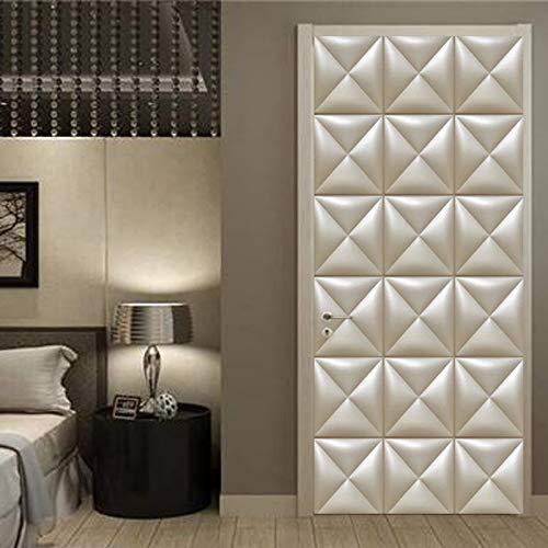 weichuang Papel pintado de estilo europeo 3D suave geométrico para puerta de salón, decoración del hogar, vinilo autoadhesivo de PVC, tamaño 77 cm x 200 cm